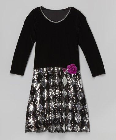 Black Velvet Sequin Checkerboard Dress - Girls