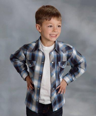 Blue Plaid Snap Button-Up - Boys