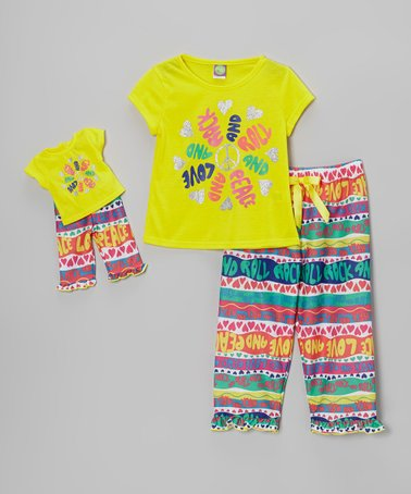 Yellow Multi Pajama Set & Doll Outfit - Girls