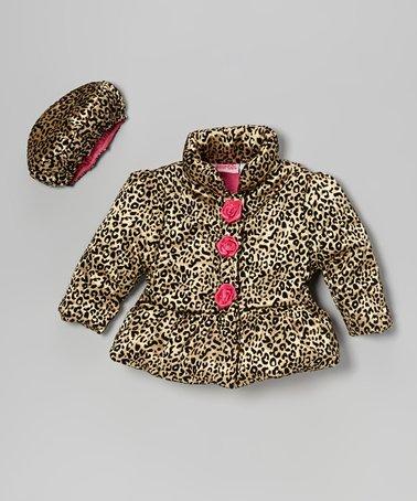 Gold Leopard Rosette Puffer Coat & Hat - Infant