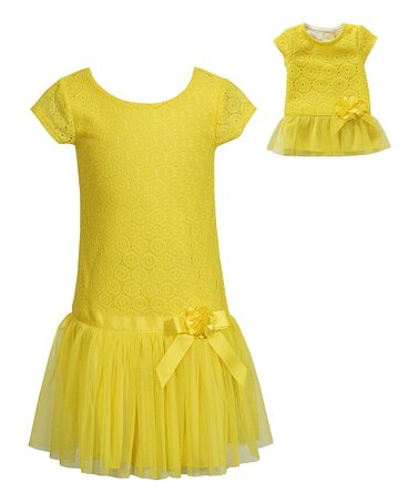 Yellow Drop-Waist Dress & Doll Dress - Girls