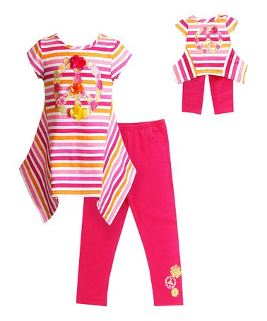 Pink & Orange Stripe Sidetail Tunic Set & Doll Outfit - Girls