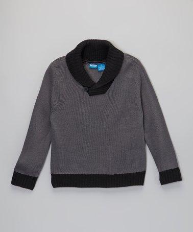 Dark Gray Shawl Collar Sweater - Boys